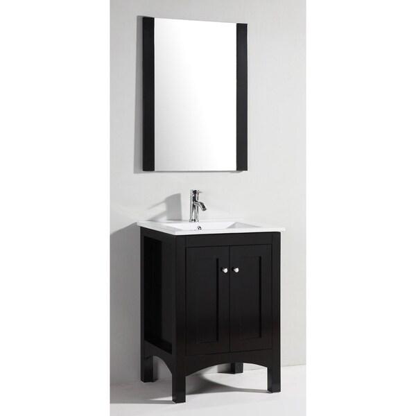 Ceramic Top Single Sink Bathroom Vanity With Mirror