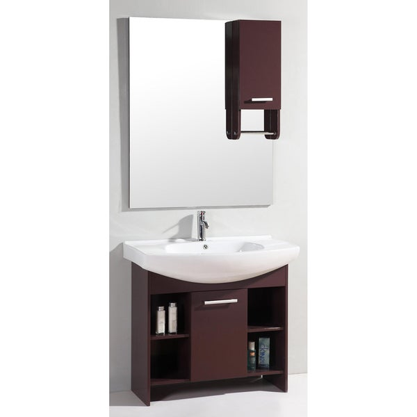 Ceramic Top 36 Inch Single Sink Mirror Bathroom Cabinet