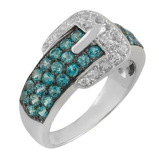 Fremada Sterling Silver White and Blue Topaz Buckle Ring