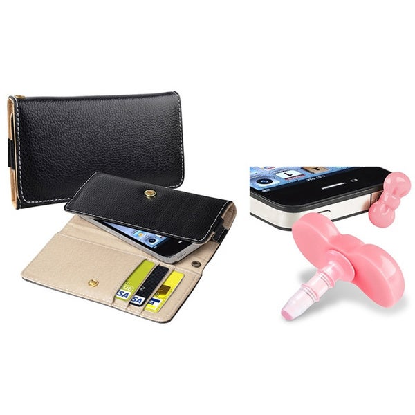 INSTEN Wallet iPod Case Cover/ Pink Headset Dust Cap for Apple iPhone/ iPod