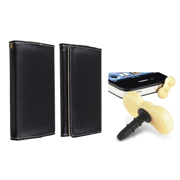 INSTEN Wallet iPod Case Cover/ Yellow Headset Dust Cap for Apple iPhone/ iPod