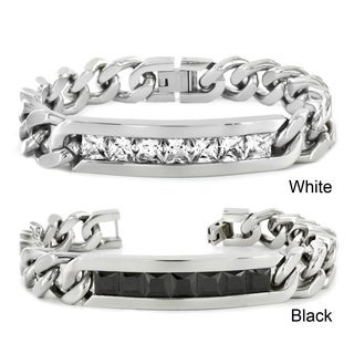 Crucible High-polish Stainless Steel Channel-set Cubic Zirconia ID Bracelet