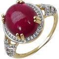 Malaika Sterling Silver Yellow Gold Overlay Ruby Ring