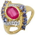 Malaika Sterling Silver Yellow Gold Overlay Ruby and Tanzanite Ring