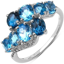Malaika Sterling Silver Blue Topaz Ring