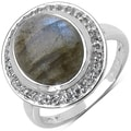 Malaika Sterling Silver Labradorite and White Topaz Ring