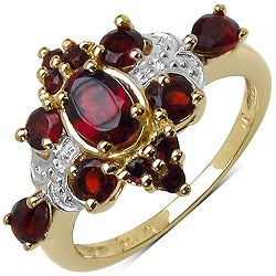Malaika Sterling Silver Yellow Gold Overlay Red Garnet Ring