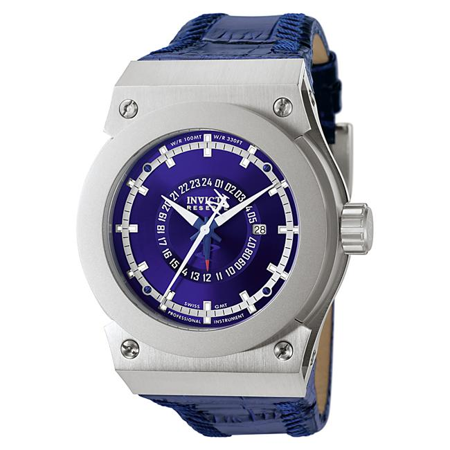 Invicta Men's Akula Blue Dial Blue Leather GMT Watch