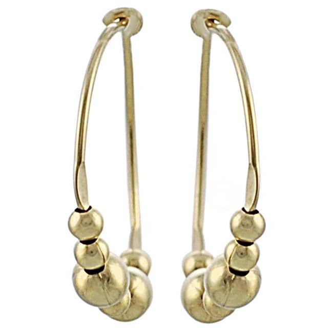 Goldfill and Alloy Beaded Hoop Earrings