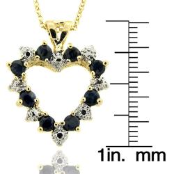 Dolce Giavonna 18k Gold over Silver Sapphire and Diamond Accent Heart Necklace
