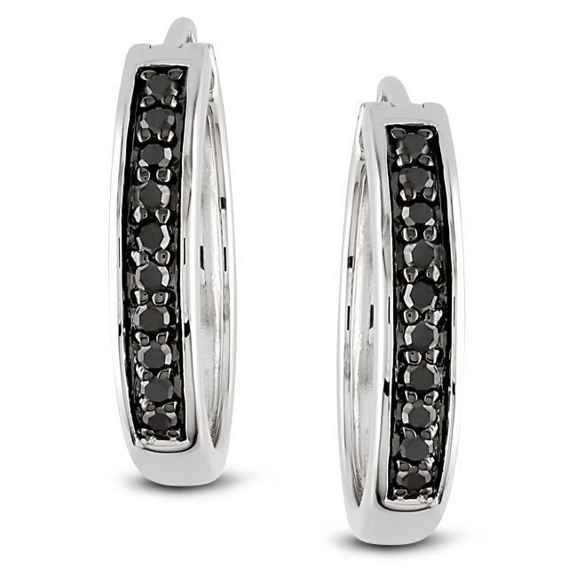 Miadora Sterling Silver 1/3ct TDW Black Diamond Hoop Earrings