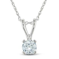 Miadora 10k White Gold Created White Sapphire Fashion Necklace