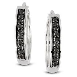 Miadora Sterling Silver 1/3ct TDW Black Diamond Hoop Earrings