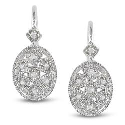 Miadora Sterling Silver 1/8ct TDW Diamond Earrings