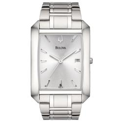 Bulova Men's Stainless Steel Silver Embossed Sunray Dial Watch