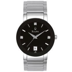Bulova Men's 96D18 Stainless Steel 3 Diamond Dial Watch