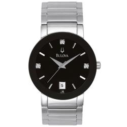 Bulova Men's Stainless Steel 3 Diamond Dial Watch