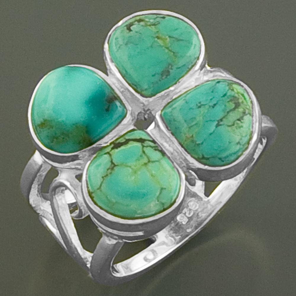 Sterling Silver Turquoise Clover Ring (India)