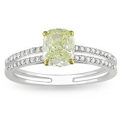 Miadora 18k Gold 1 1/5ct TDW Yellow and White Diamond Ring (G-H, VS1-VS2)