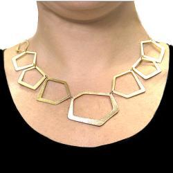 Adee Waiss 18k Yellow Gold Overlay Geometric Link Necklace
