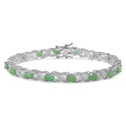 Malaika Sterling Silver Emerald and 1/10ct TDW Diamond Bracelet (I-J, I2-I3)