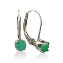 14k White Gold Emerald Leverback Earrings