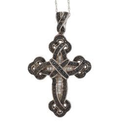Sterling Silver 5/8ct TDW Diamond Cross Pendant (I-J, I2-I3)