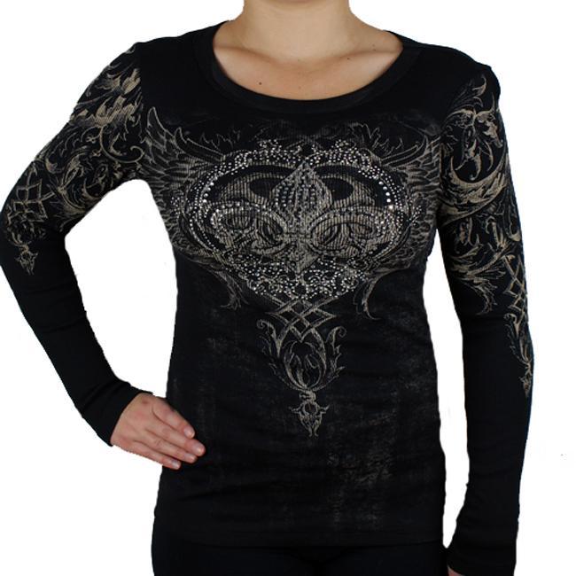 Vocal Womens Rhinestone Scoop neck Long sleeve Top