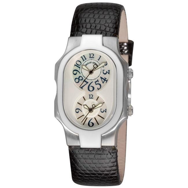 Philip Stein Women's 'Signature' Black Strap Dual Time Watch