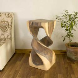 Monkey Pod Wood Double Twist White Oil Stool (Thailand)