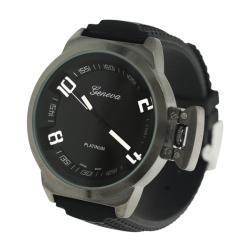 Geneva Men's 'Platinum' Round Face Silicone Watch