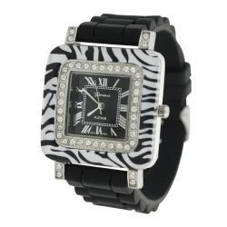 Geneva Women's 'Platinum' Zebra Silicone Watch