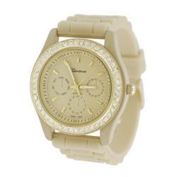 Geneva Womens 'Platinum' Rhinestone Chronograph-style Silicone Watch