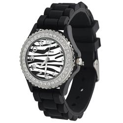 Geneva Women's 'Platinum' Black Silicone Watch