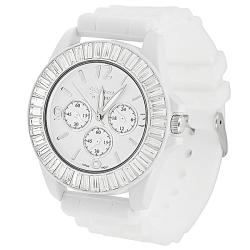 Geneva Women's 'Platinum' Rhinestone-accented Silicone Watch