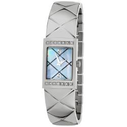 Akribos XXIV Women's Diamond Swiss Quartz Bangle Steel Black Watch