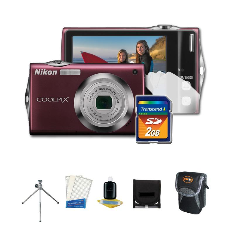 Nikon Coolpix S-4000 12 MP Digital Camera with Camera Accessories Kit (Refurbished)