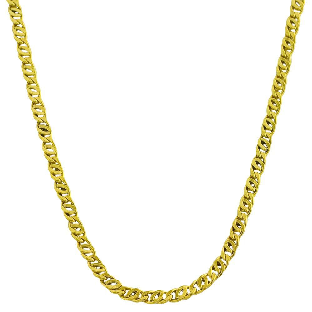 14k Yellow Gold Super Lite Tiger Eye Link Necklace