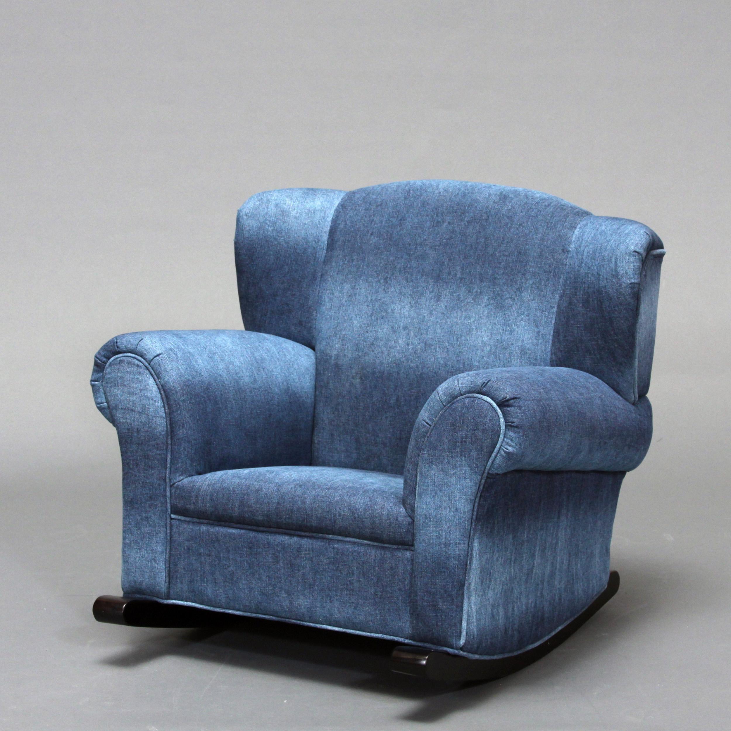 Child S Blue Denim Rocking Chair 13208784 Overstock