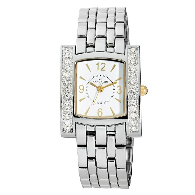 Anne Klein Womens Two tone Crystal accented Watch