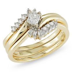 Miadora 14k Yellow Gold 1/3ct TDW Diamond Bridal Set (G-H, I2-I3)