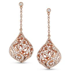18k Pink Gold 1 3/4ct TDW Diamond Teardrop Earrings (G-H, SI1-SI2)
