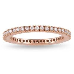 Miadora 18k Pink Gold 1/4ct TDW Diamond Eternity Ring (G-H, SI1-SI2)