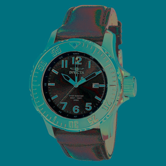 Invicta Mens Pro Diver Black Dial Black Leather GMT Watch