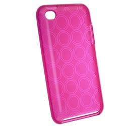 Clear Hot Pink Circle TPU Rubber Case for Apple iPod Touch