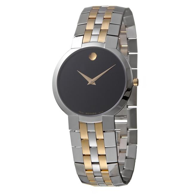 Movado Men's 'Faceto' Stainless Steel and Goldplated Quartz Watch