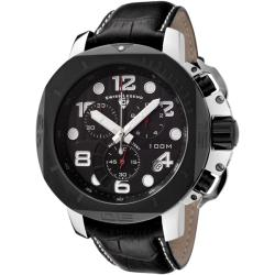 Swiss Legend Men's Scubador Black Dial Black Leather Chronograph Watch.