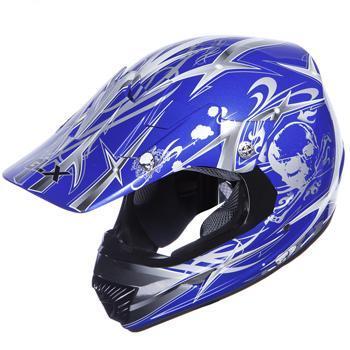 GLX Adult Off road Full Face Blue Motorcycle Helmet