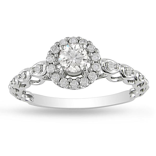 10k White Gold 1/2ct TDW Diamond Halo Engagement Ring (G-H, I2-I3)