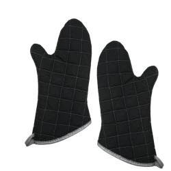 Pyrotex Black Oven Mitts (Set of 2)